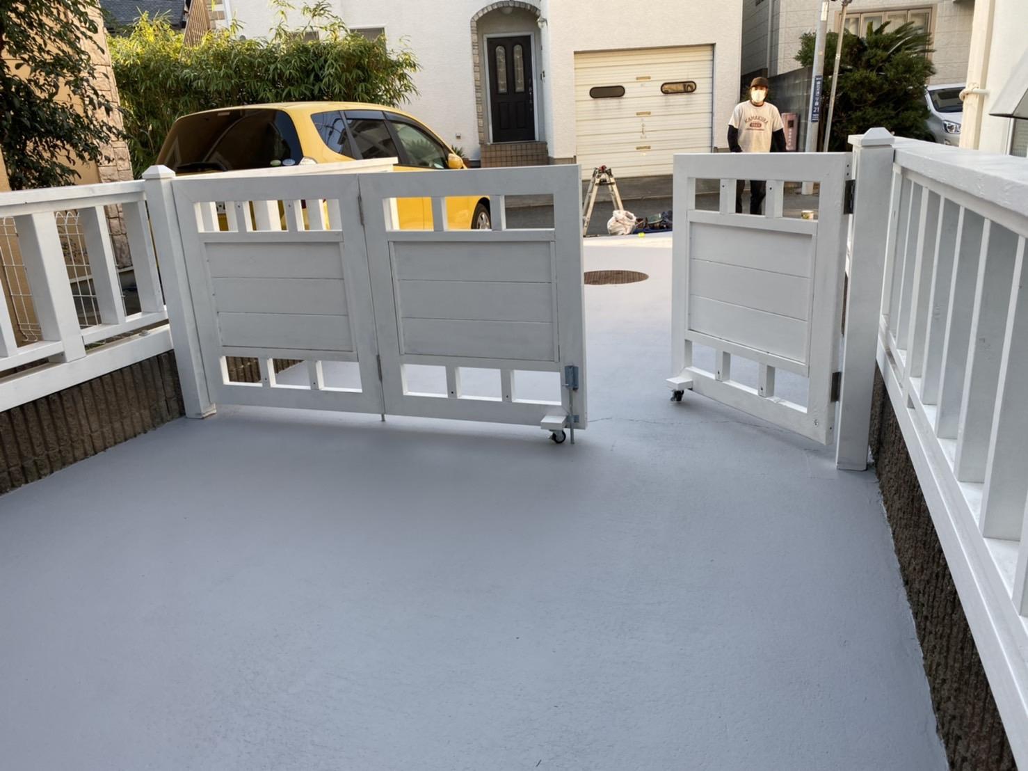 駐車場ゲート フェンス 路面補修